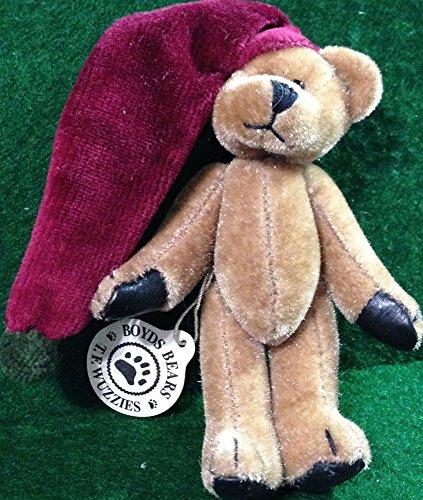 Boyds Plush TF Wuzzies Twizzle F Furzzie Red Stocking Cap Jointed Teddy Bear