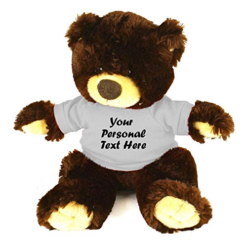 Plushland Chocolate Noah Teddy Bear 12 Inch Stuffed Animal Personalized Gift - Custom Text on Shirt - Great Present for Mothers Day Valentine Day Graduation Day Birthday White Shirt