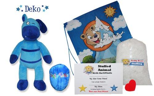 Make Your Own Stuffed Animal Deko the Ragbear Teddy Bear Kit - No Sew - With Cute Backpack