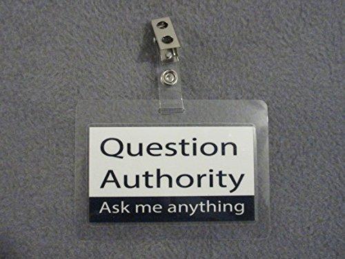 2PK BDG1 QA Ask Anything Novelty Clip Badge collectable funny joke item gag gift