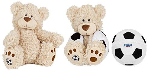 Buddy Balls Plush Teddy Bear Convertible Toy Soccer Ball-Tory CreamBlackWhite