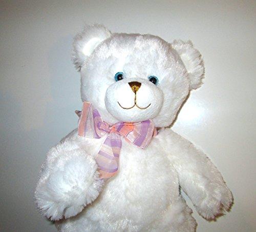 Musical Plush Stuffed Animal - White Teddy Bear with Music Box Inside - Plays Somewhere Over the Rainbow or Song of Your Choice - Polar Bear Dena
