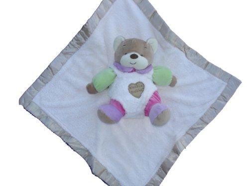 Ellis Baby Blankie Buddies Super Soft 2-in-1 Security Blanket Banky 18x18 Beige Blankie Lovie w7 tall Pink Teddy Bear Rattle Toy