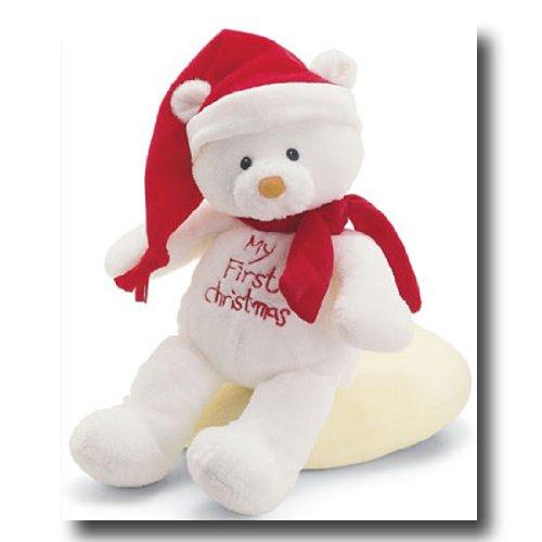 Gund Babys First Christmas Teddy Bear Rattle Toy