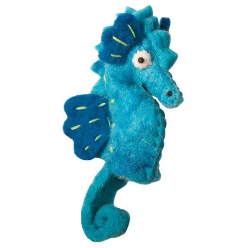 Fair Trade Finger Puppet - Sea Horse Puppet Wool Felted Finger Puppet or Ornament Dzi