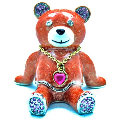 Objet DArt Release 325 Cappuccino The Bear Teddy Bear with Heart Pendant Handmade Jeweled Enameled Metal Trinket Box