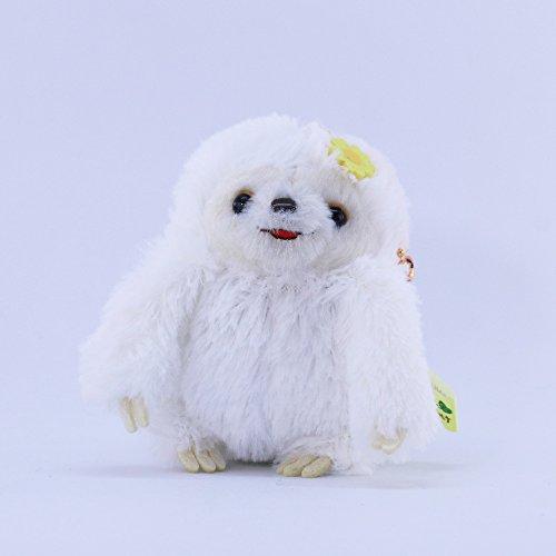 AMUSE Sloth Plush Namakemono Mikke Matarri White with Flower - Sloth Plush Ball Keychain 39 height - Authentic Kawaii from Japan