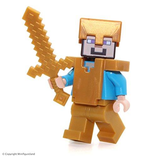 LEGO Minecraft MiniFigure - Steve w Pearl Gold Helmet Armor Legs 21127