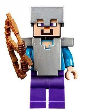 Lego Minecraft Steve with Iron Armor Bow
