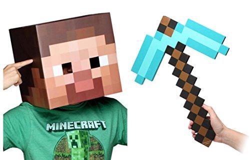 Minecraft Steve Head Diamond Pickaxe Costume Set
