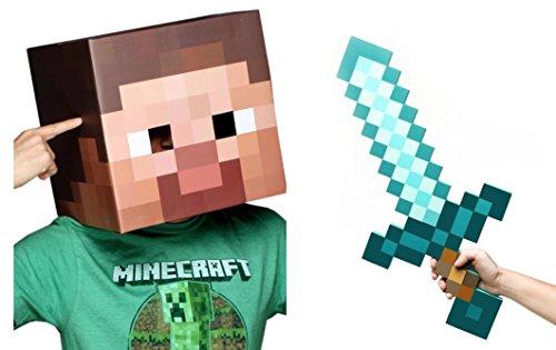Minecraft Steve Head Diamond Sword Costume Set