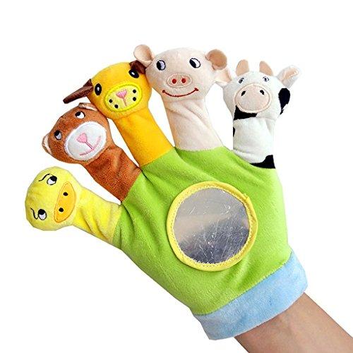 KODORIA Baby Child Zoo Farm Animal Hand Sock Glove Puppet Finger Sack Plush Toy - Green
