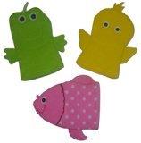 Terrycloth Baby Bath Animal Hand Puppet Wash Mitt - Set of 3 - Duck Frog Fish