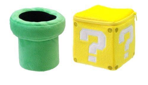 Sanei Set of 2 Super Mario Plush Doll Toy - Warp Pipe Coin Block