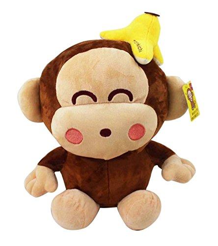 Sanrios Monkichi Excited Face wBanana Peel On Head Plush Toy