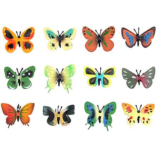 Lanlan Mini Assorted Butterfly Toys PVC Plastic Animal Figures Kids Educational Toy 12 Pcs