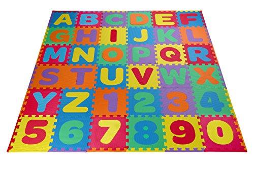 Toydaloo EVA Kids Foam Play Alphabet ABC Plus Numbers Puzzle Mat Plus 24 Border Edges - Includes Reusable Carrying Bag with Handle 36 Piece