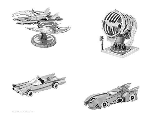 Fascinations Metal Earth 3D Laser Cut Model Kits SET of 4 BATMAN 1989  1966 Batmobiles  Batwing  Bat-Signal