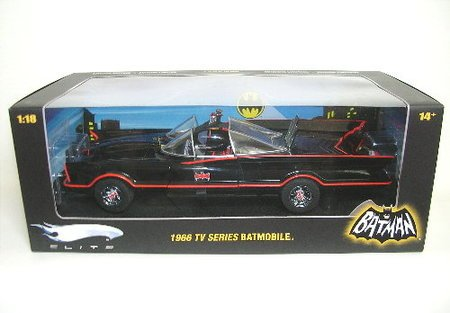 TV 1966 BATMOBILE Hot Wheels Glossy Black Elite Limited Edition 118 Scale Collectible Die Cast Car