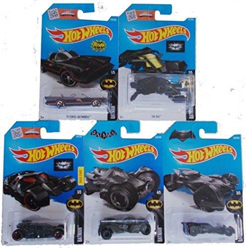 2016 Hot Wheels Batman 5-Car Complete Set Batmobile Batman vs Superman Batmobile TV Series Batmobile The Bat Arkham Knight The Dark Knight by Batmobile Set by Batmobile Set