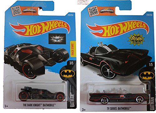 Hot Wheels 2016 Batman Classic TV Series Batmobile The Dark Knight 2-Car Bundle Set