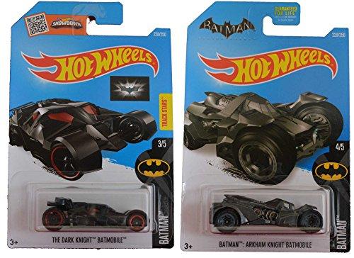 Hot Wheels 2016 Batman The Dark Knight Batmobile Batman Arkham Knight Batmobile 2-Car Bundle Set