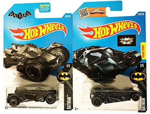 Hot Wheels 2016 Batman The Dark Knight Batmobile Navy Blue Batman Arkham Knight Batmobile 2-Car Bundle Set