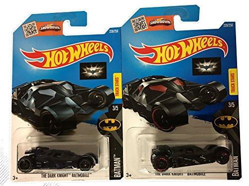 Hot Wheels 2016 Batman The Dark Knight Batmobile Navy Blue Black Variant 228250 2-Car Bundle Set