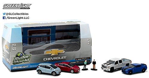 NEW 164 MOTOR WORLD DIORAMA - CHEVROLET DEALERSHIP MODERN CARS Diecast Model Car By Greenlight Set of 4 Cars 2 Figures