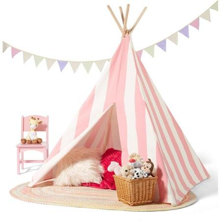 Kids Teepee Play Tent Cotton Canvas Indoor or Outdoor Playhouse