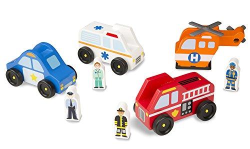 Melissa Doug Emergency Vehicle Wooden Play Set With 4 Vehicles 4 Play Figures