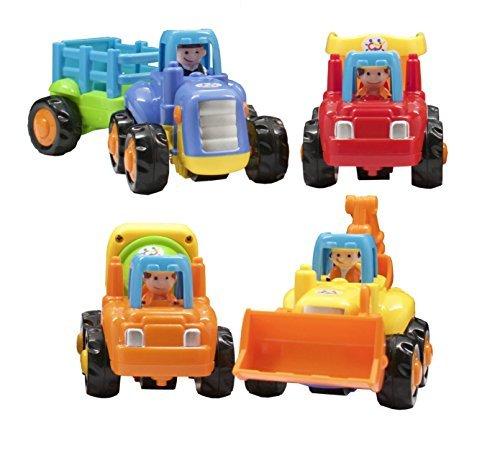 TECHEGE  Toys Happy Engineering Vehicles Friction Powered Kids Tractor Dump Truck Cement Truck Excavator