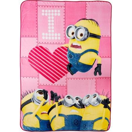 Minions Girl Love Of Minion Twin 62 x 90 Fun Bright Pink Plush Blanket