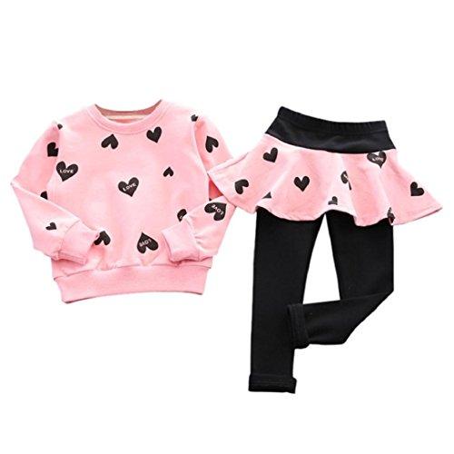 New Girls Long-sleeved Skirt Pants SuitHighpot Girls Love Printing Cute Set 1205T Pink