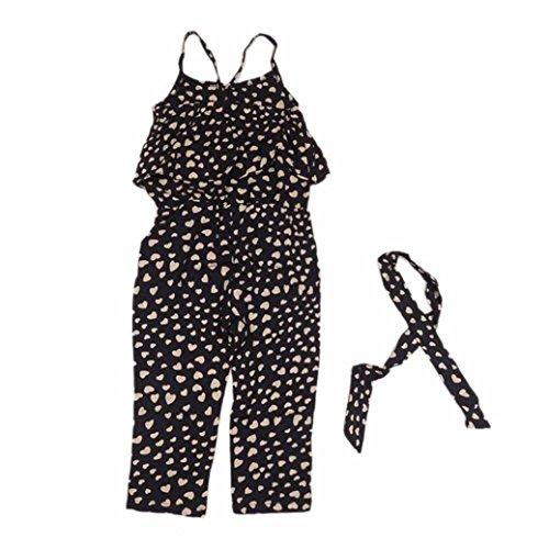 VESNIBA Kids Girls Love Heart Straps Rompers Jumpsuits Piece Pants Clothing 4T Black
