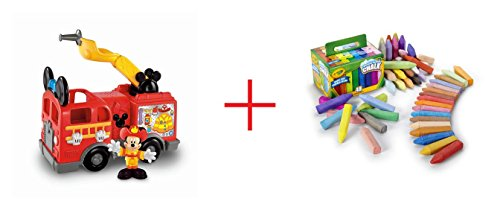 Fisher-Price Mickeys Silly Siren Fire Truck and Crayola Washable Sidewalk Chalk - 48 Count - Bundle