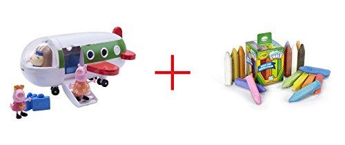 Peppa Pig Peppas Holiday Plane and Crayola Washable Sidewalk Chalk - 16 Count - Bundle