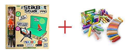 Stikbot Studio Pro and Crayola Washable Sidewalk Chalk - 48 Count - Bundle