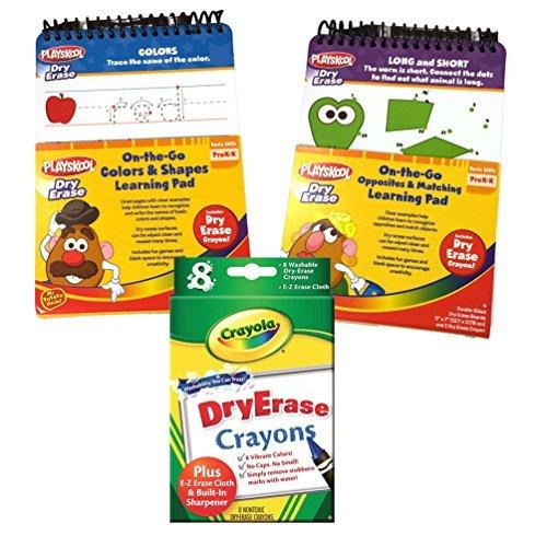 Playskool Dry Erase On-the-go Preschool Activity Pads Set of 2 - OppositesMatching Colors 8pk Crayola Dry Erase Crayons by Playskool