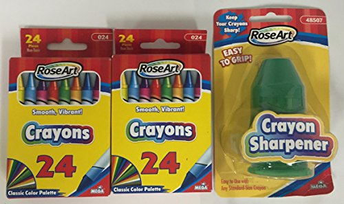 24 Count Crayons 2 pack with Green Crayon Sharpener