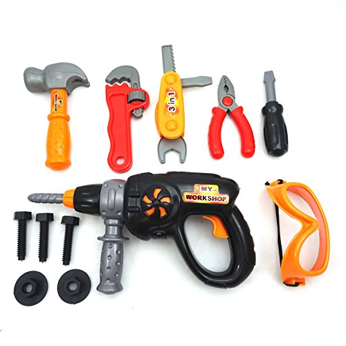 Crafty Tool Set Toy - Battery Drill - Work Bench Tool Set Pretend Play - Durable Quality