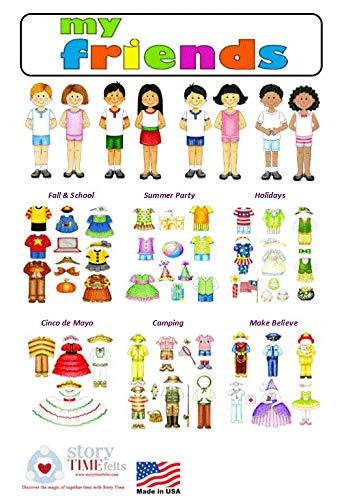 Dress Up Felt Doll Set 8 Dolls  78 Pieces Flannel Board Boys Girls Story Playboard