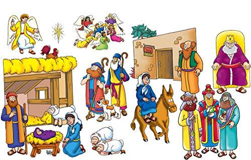Little Folk Visuals Beginners Bible Baby Jesus Precut FlannelFelt Board Figures 16 Pieces Set