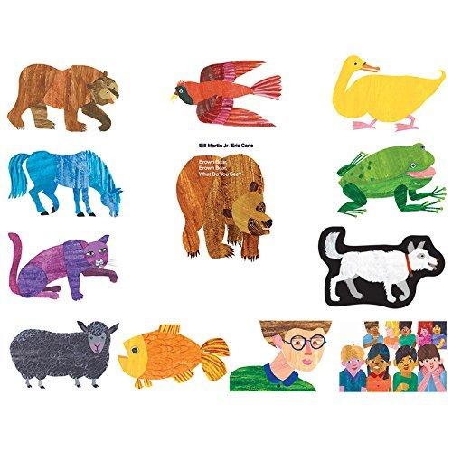 Little Folk Visuals Brown Bear Precut FlannelFelt Board Figures for Toddlers Kindergarteners Interactive Teaching 14-Piece Set for Flannel Board Stories
