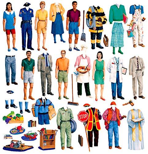 Little Folk Visuals Small Community Helpers Precut FlannelFelt Board Figures 44 Pieces Set