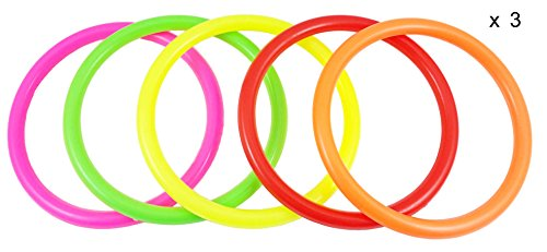 Ujoy Pack of 15 Multicolor Plastic Toss Rings For Speed And Agility Training Games 394