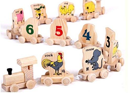 Wooden Twelve Chinese Zodiac Digital Trains Toy