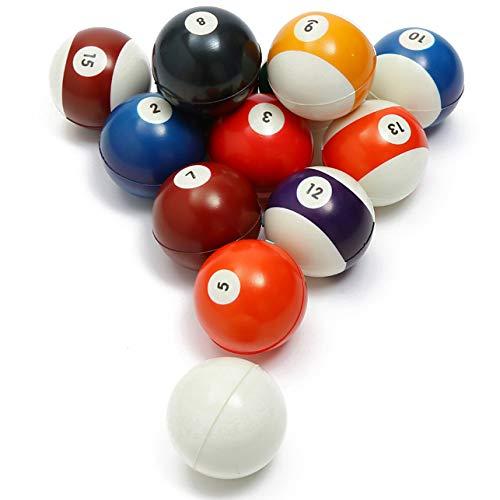 Akusety Mini Sports Stress Balls Billiards Fun 12-Pack Foam Ball 25 Relaxable Stress Relief Squeeze Balls