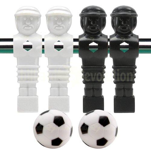 Billiard Evolution 4 Black and White Foosball Men and 2 Soccer Balls