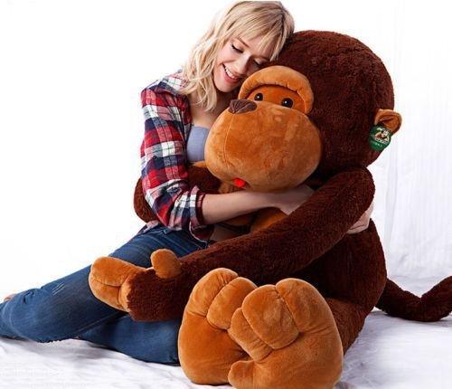 Hot Stuffed Giant 130CM Big Brown Plush Monkey Huge Soft 100 Cotton Doll Toy